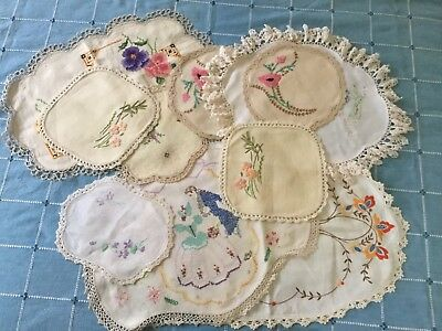 Bundle Vintage Embroidered Linen And Cotton Doilies - 10 - Upcycle / Repurpose