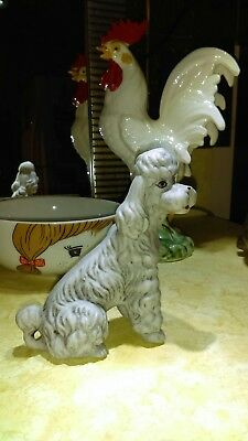 1950's Vintage PORCELAIN Poodle FIGURINE HAND-PAINTED Standard From Estate Bid!