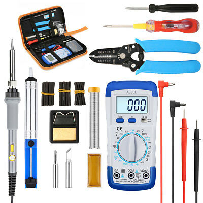 LIUMY 60W Electronic Soldering Iron Kit Adjustable Temp Welding Tool &10Pcs Tips