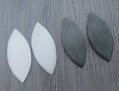 50mm Leather Leaves 2pc - Hair on Cowhide Brown White Grey Mixed Colour FBC102
