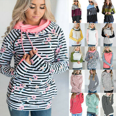 UK Plus Size Ladies Women Girls Winter Hoodies Sweatshirt Hooded Jumper Coat Top