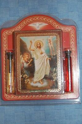 An orthodox set icon the Resurrection of Jesus and 2 bottles of balm