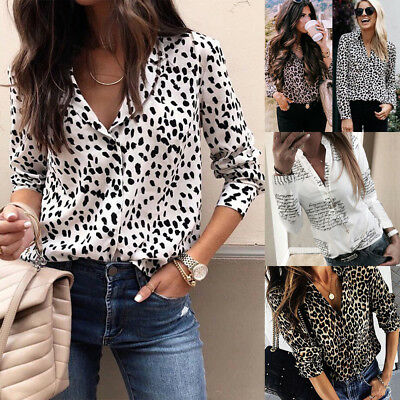 UK STOCK Women V Neck Ladies Leopard Print Long Sleeve Loose T Shirt Tops Blouse