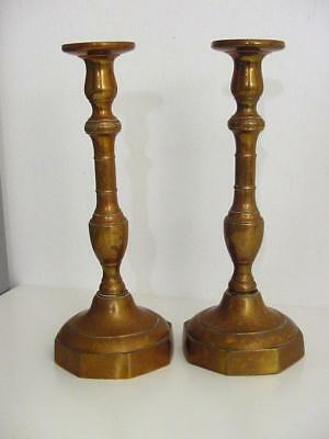 pair of antique brass candle sticks