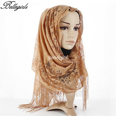 Muslim Lace Scarf Tassel Hijab Cape Women Party Long Scarves Wrap Shawl Headwear