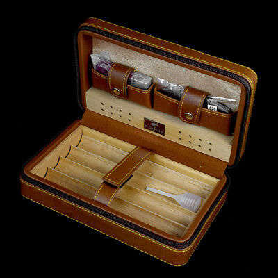 COHIBA  Leather 4 Count Cedar Cigar Case Cigarette Humidor With Cutter & Lighter