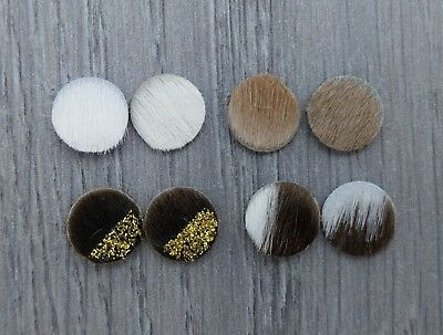 2pc 12mm Cabochons Hair on Cowhide Leather Cab Mixed Colour Glitter Brown FBC105