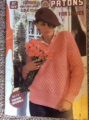 Vintage Patons Knitting Knitting Pattern Book 617 Patons For Ladies 5 8 12 Ply