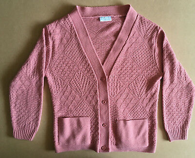 WOW UGLY Vintage 80s 90s Womens Knitted Cardigan Aussie Made Pink Retro Hipster