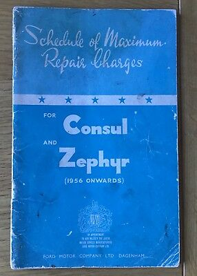 Booklet - Schedule of Maximum Repair Charges - Ford Consul and Ford Zephyr 1960