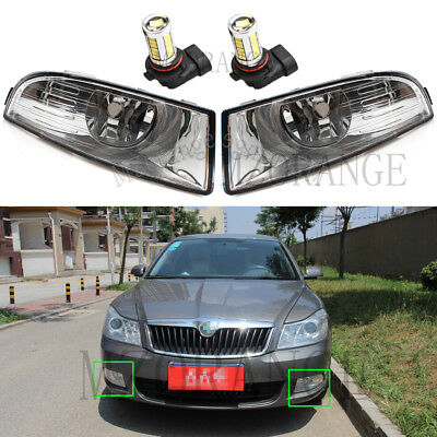 2x LED For Skoda Octavia Mk2 Hatchback 4/2009-4/2013 Front Bumper Fog Light Lamp