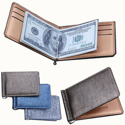 Luxury Men Slim Wallet Money Clip Business PU Leather Cash ID Credit Card Holder