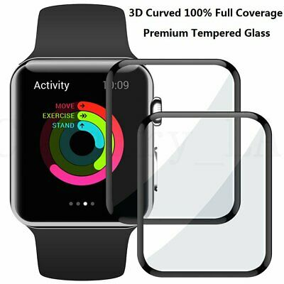 FULL COVER 3D Curved Tempered Glass Screen Protector For Apple Watch iWatch 44mm