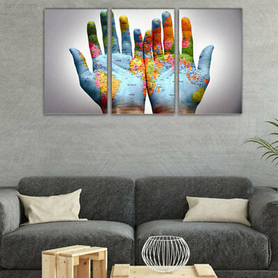 6663 Gallery Unframed Oil Painting Beautiful Hand and Map 3 Panels Home Decor