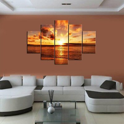 87FE Gift Framed 5 Panel Wall Art Oil Painting Decor No Painting Large Living Ro