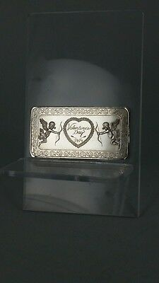 One ounce of fine silver ingot Valentines day 1974 with heart and cherubs