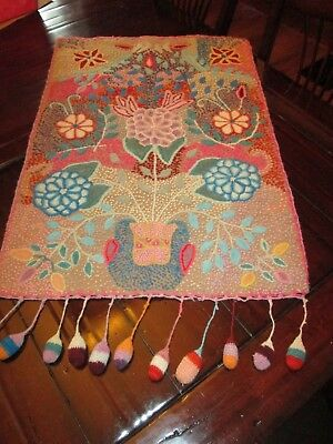 Vintage Craft Embroider Crocheted  Wall Tapestry Hand Made Hippie Boho