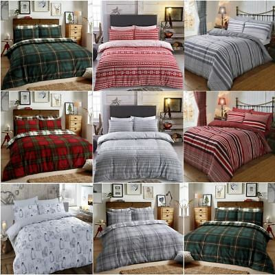 Christmas Brushed Cotton Flannelette Reversible Duvet Set Quilt Cover Bedding