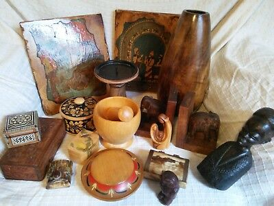 Wooden Job Lot Small wood household vintage items