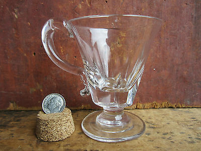 Antique Civil War Era EAPG Early New England Cut Glass Handled Whiskey Taster