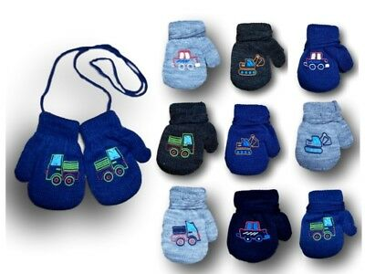 Baby Boys Toddler Winter Acrylic Mittens With String Gloves ABS Size 1-5 Years