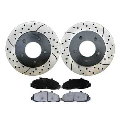 Front Kit Performance Drilled Slotted Brake Rotors & Ceramic Pads fits a Ford