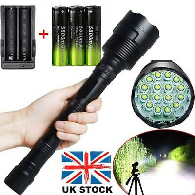 Tactical 90000LM T6 LED Ultra Bright Police Rechargeable Flashlight Torch Lamp ♢