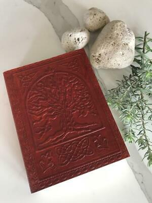Hand Made Leather Bound CELTIC TREE Journal  Vintage Book Shadow Blank Pages