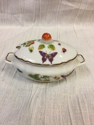 Vintage Ardalt Strawberry Bug Butterfly Jam 7311 Jelly Dish Pot W/lid