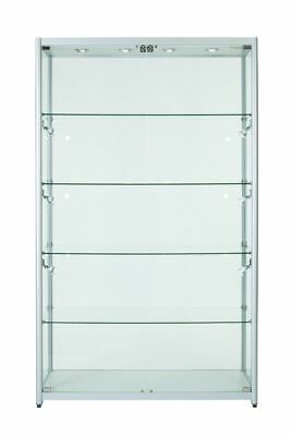 ALUMINIUM LOCKABLE DISPLAY CABINET WITH FULL DISPLAY AREA Model: S-1200 SILVER
