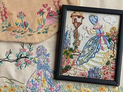 3  Vintage Hand Embroidered Crinoline Lady Items : Small Bag Picture Tray Cloth