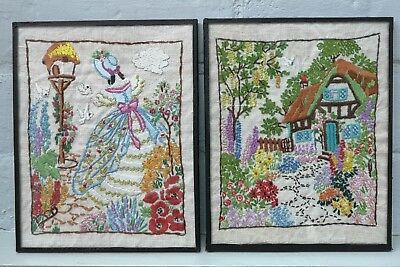 Pair Of Vintage Hand Embroidered Crinoline Lady  English Cottage Garden Pictures