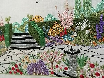 1930s  VINTAGE HAND EMBROIDERED DETAILED  PANEL ENGLISH GARDEN FLOWERS SUNDIAL