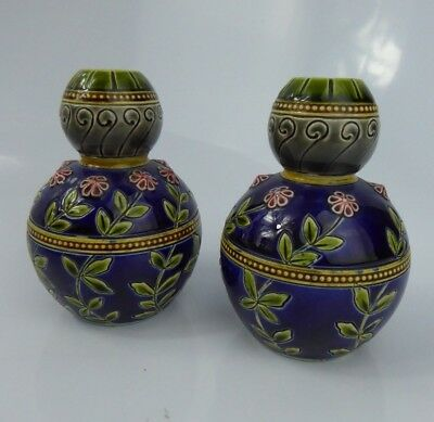 Sarreguemines Art Nouveau Majolica Vases French Pottery - Aesthetic Period