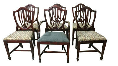 Set of 6 Vintage Shield Back Dining Chairs, Sheraton Style, Mahogany, PA5129