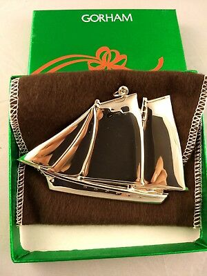 1984 Gorham Schooner Sterling Silver Christmas Ornament New w/box and bag