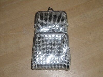 Vintage Silver Mesh 2 Pocket Cigarette Case