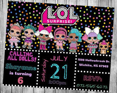 Lol Doll Surprise Theme Party Invitation Personalized Custom  You Print