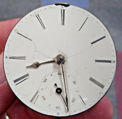 """Superb Quality Antique """" Fusee"""" Pocket Watch Movement Circa 1850, Working, N/res"""