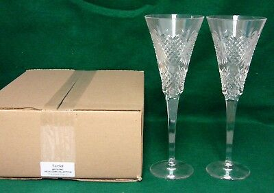 Waterford WEDDING HEIRLOOM COLLECTION Champagne Flutes SET/ TWO Mint in BOX