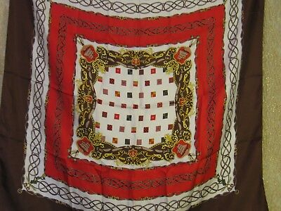 "Vtg 80s Silk Talbots Scarf Sailing Ships with Flags Red Brown & White 34"" Sq."