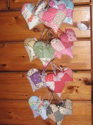 Pair 2 Padded Heart Shape Hanging Decorations Choice of Patchwork Fabric Colours
