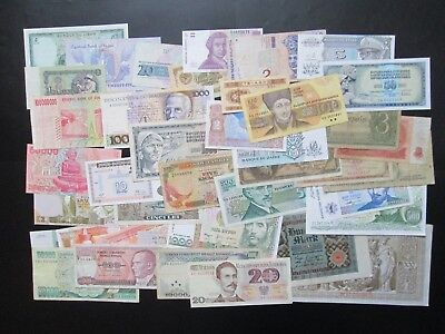 Banknotes Job Lot of 40 World Notes Mixed Condition