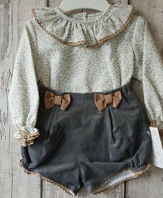 Spanish Style Baby Girl Jam Pants and Top Set / Outfit.