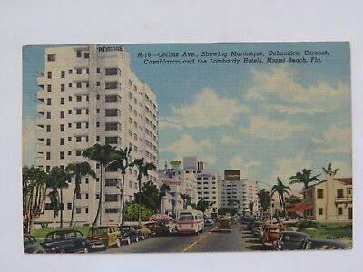 Vintage Postcard Miami Beach Fl Collins Ave Hotels Lombardy Coronet Old 5252