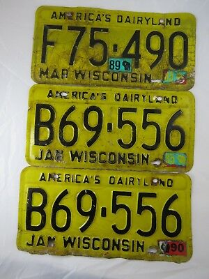 3 Black Yellow Wisconsin America's Dairyland License Plate Tag Lot Vintage 1540