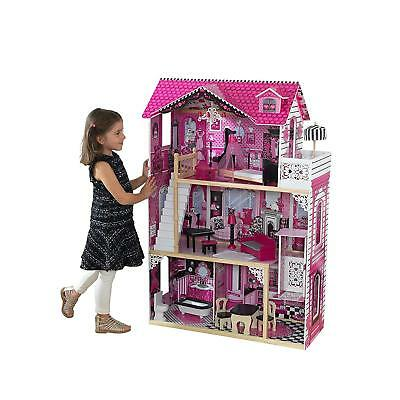 New Amelia Wooden Play Dolls House With 3 Floors Furniture Accessories & Lift