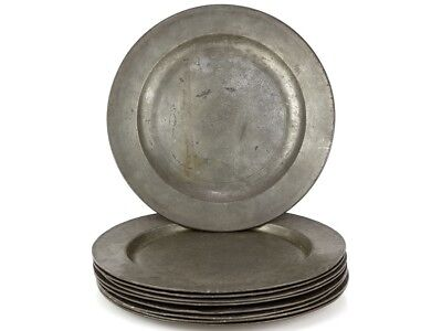 c1865 English Set of 9 Pewter Plates by James Yates