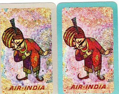 """Pair of RARE VINTAGE Air India Airlines"""" SINGLE Playing Cards"""