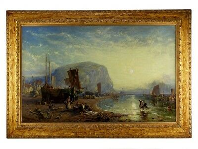Antique Oil Painting Marine Seascape Staithes James Baker Pyne